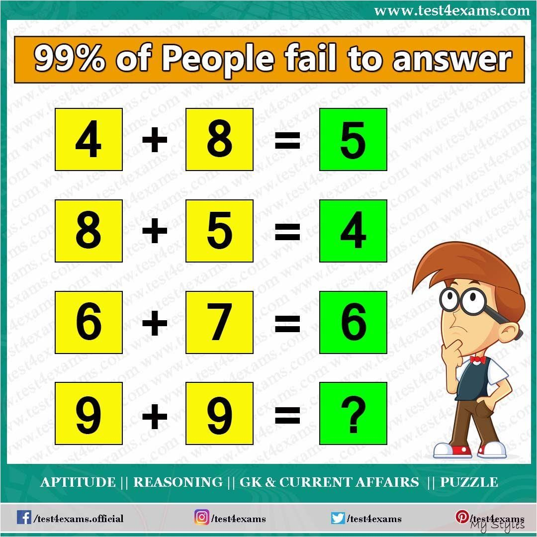 Feb 19, 2020 99 of People fail to answer 4+8=5 8+5=4 6