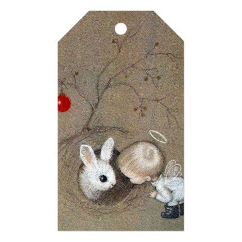 Vintage christmas angel looking at bunny rabbit gift tags negle Image collections