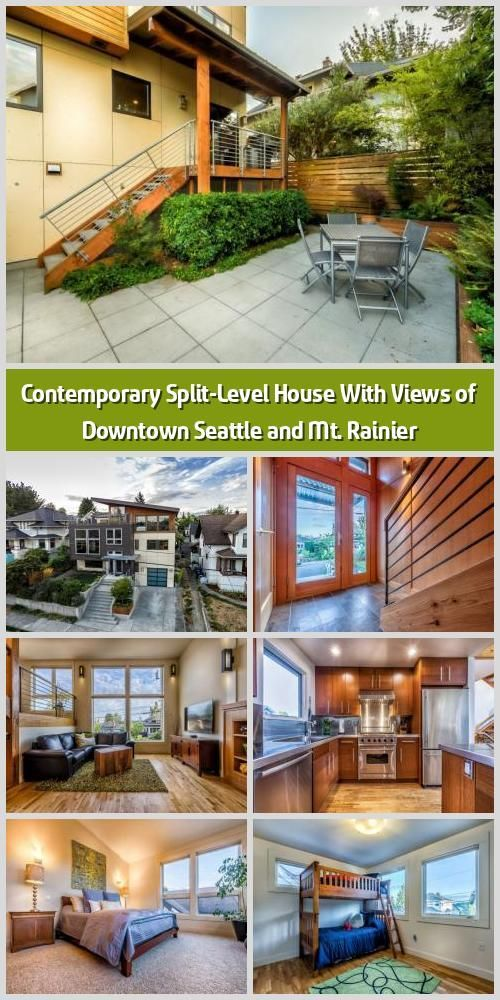 Contemporary Split-Level House With Views of Downtown Seattle and Mt. Rainier - ... -  Contemporary Split-Level House With Views of Downtown Seattle and Mt. Rainier –   This contempora - #BoatBuilding #contemporary #DecoratingMobileHomes #downtown #house #KitchenRemodeling #level #MobileHomeKitchens #MobileHomeLiving #ModernStaircase #Rainier #seattle #split #SplitLevelRemodel #Splitlevel #TraditionalKitchens #views