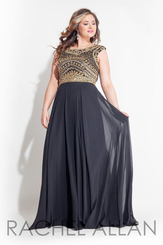 Rachel Allan 7413 Plus Size Black Gold Gala Prom Pageant Gown Dress ...