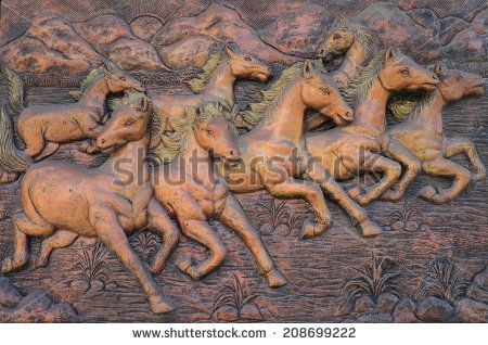 stock-photo-low-relief-cement-thai-style-handcraft-of-horse-on-wall-208699222