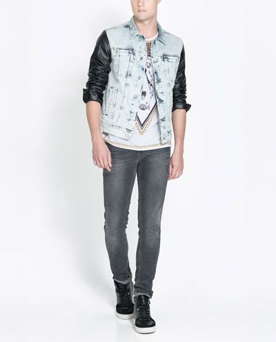 DENIM JACKET WITH FAUX LEATHER SLEEVES - Coats and Jackets - Man ... af2006dc42