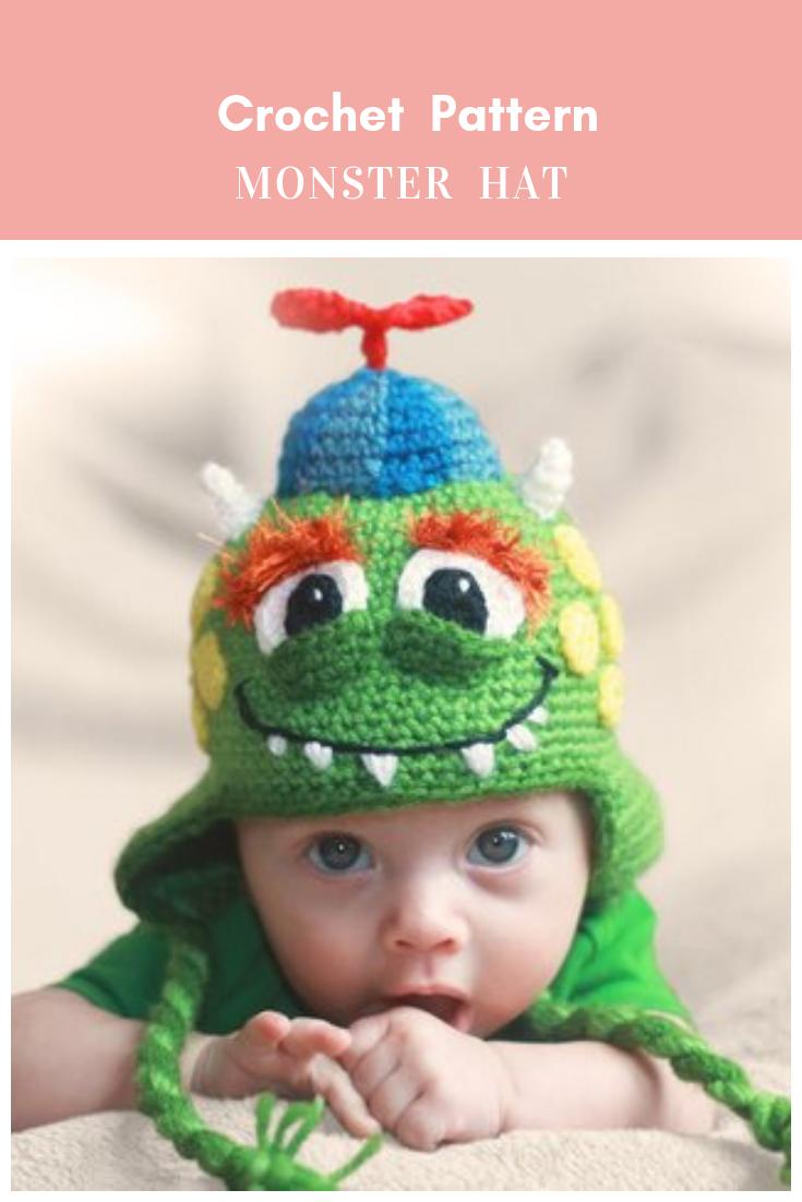 Crochet Pattern Monster Hat Pattern For Boys Girls Pdf File