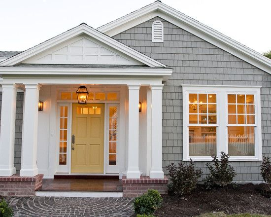 Love The Color Of Grey Exterior With The White Trim And The Yellow Door Beach House