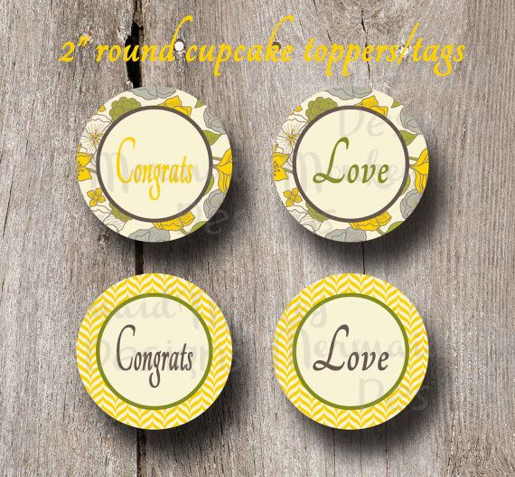 Cupcake Toppers  Round Tags  Favor Tags  by MermaidMonkeyDesigns, $5.00 #cupcaketoppers #roundtags #favortags #bridalshower #weddingshower