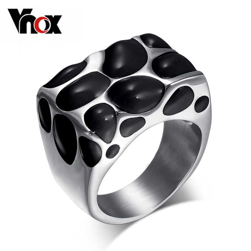 Vnox preto esmalte anéis para as mulheres anel de casamento do aço inoxidável jóias exclusivas charme acessórios