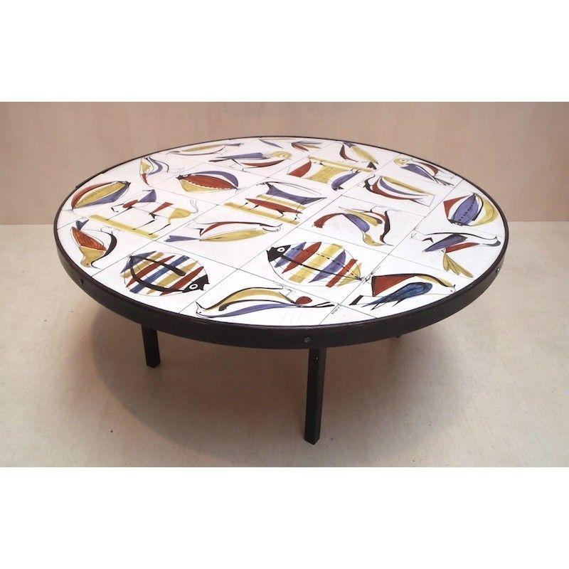 Table Basse Vintage Roger Capron Annees 50 Design Market Table Basse Ronde Table Basse Table Basse Vintage