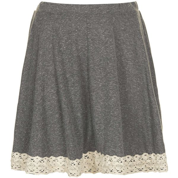 TOPSHOP Grey Lace Hem Skater Skirt (745 RUB) ❤ liked on Polyvore featuring skirts, bottoms, topshop, grey, grey marl, lace circle skirt, knee length lace skirt, lace skirt, grey lace skirt and gray skater skirt