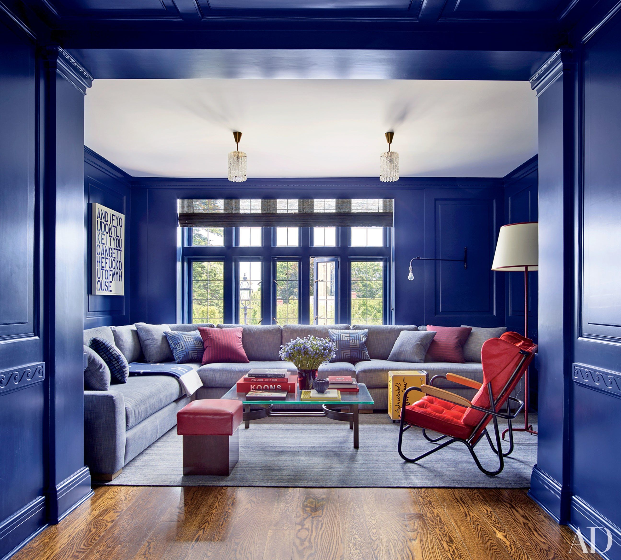 An RH Sectional Sofa Anchors The Media Room, Whose Walls Are Coated In Fine  Paints Of Europeu0027s Blue. Among The Roomu0027s Red Accent Pieces Are A Pierre ...