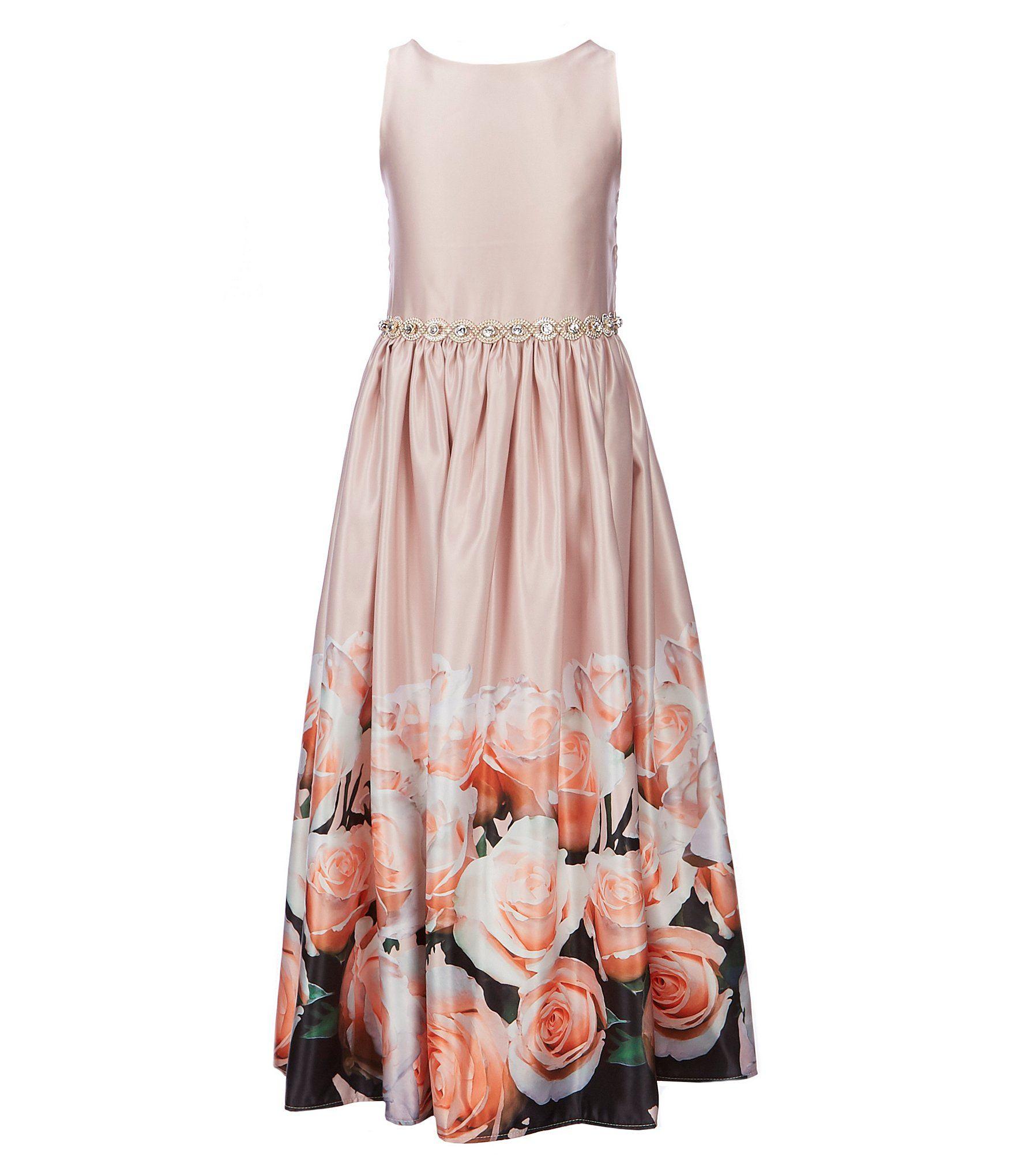 3c526bd1eee Belle Badgley Mischka Big Girls 7-16 Solid Floral-Border Belted Maxi Dress   Dillards