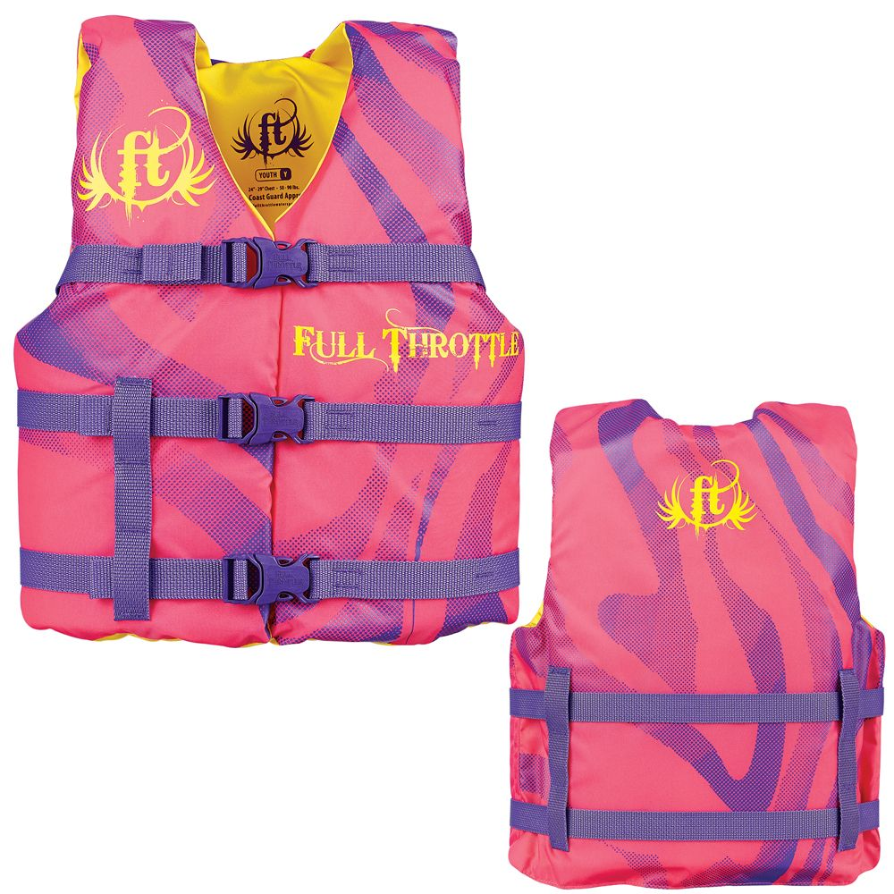 Full Throttle Character Life Vest Youth 5090lbs Pink