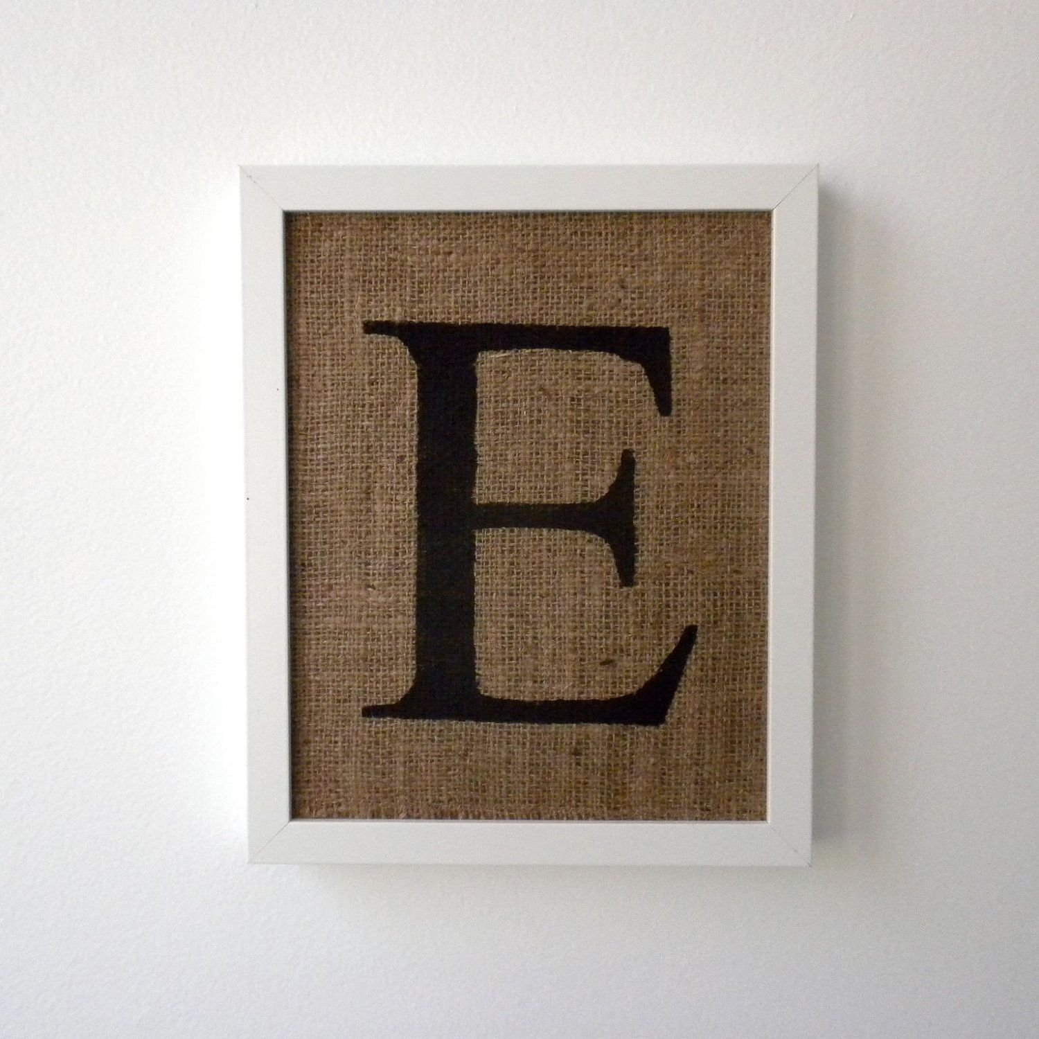 Letter E Wall Decor Letter E  Burlap Wall Decor Alphabet Art Monogram  Burlap Wall