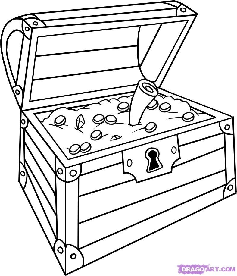 treasure chest coloring page printable how to draw treasure box - How To Draw Coloring Pages