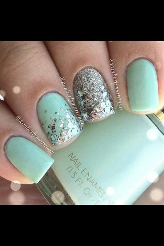 Pin de Gloria Escobedo en Nails | Pinterest | Menta, Diseños de uñas ...