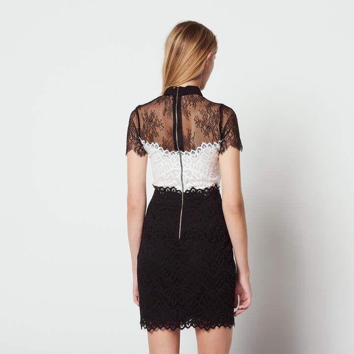 Sandro Two Tone Lace Dress Tonesandrodress Women Styles