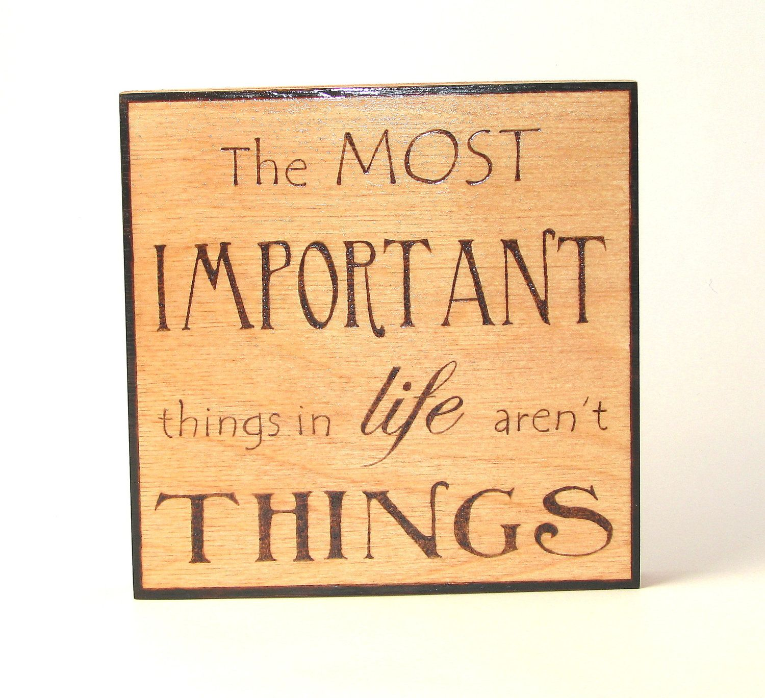 Life wall art - wood pyrography - Important things in life wall ...