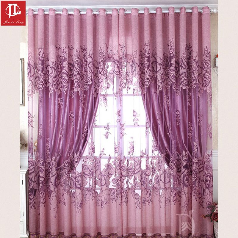 High Grade Luxury Jacquard Curtains European And American Style Curtain With Burnt Out Flower