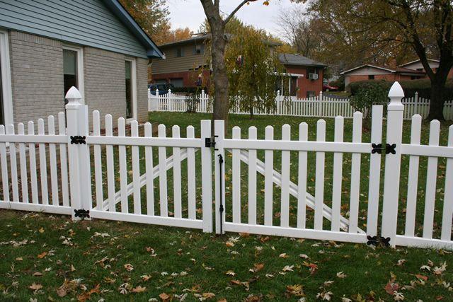 White Vinyl Picket Fence W Double Gate Vinyl Picket Fence