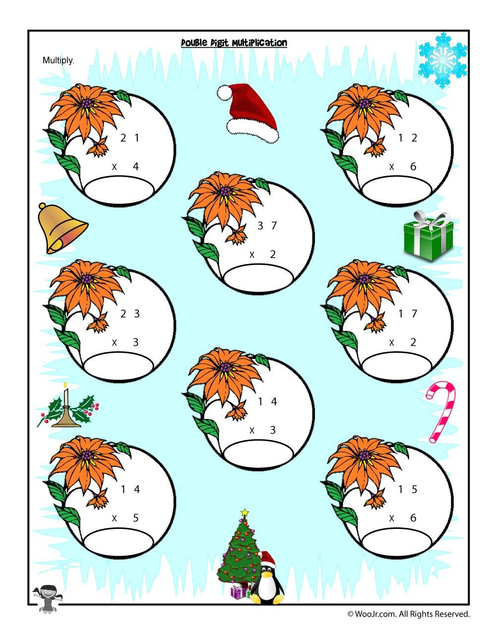 Double x Single Digit Multiplication Christmas Worksheet | Math ...