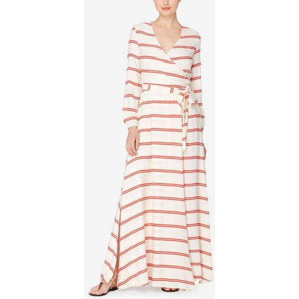 Catherine Catherine Malandrino Striped Faux-Wrap Maxi Dress ($148) ❤ liked on Polyvore featuring dresses, fennel strip red, white dress, catherine catherine malandrino, faux wrap maxi dress, red white dress and white striped dress