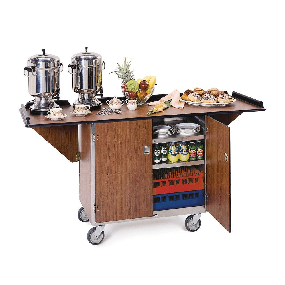 Lakeside 675w Stainless Steel Drop Leaf Beverage Service Cart With 3 Shelves And Walnut Vinyl Finish 44 1 4 X 24 X 38 1 4 Outdoor Kitchen Appliances Steel Shelf Shelves