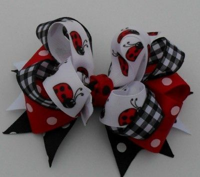 LADYBUGS STACKED BOUTIQUE HAIR BOW HANDMADE GIRLS HAIR ACCESSORIES