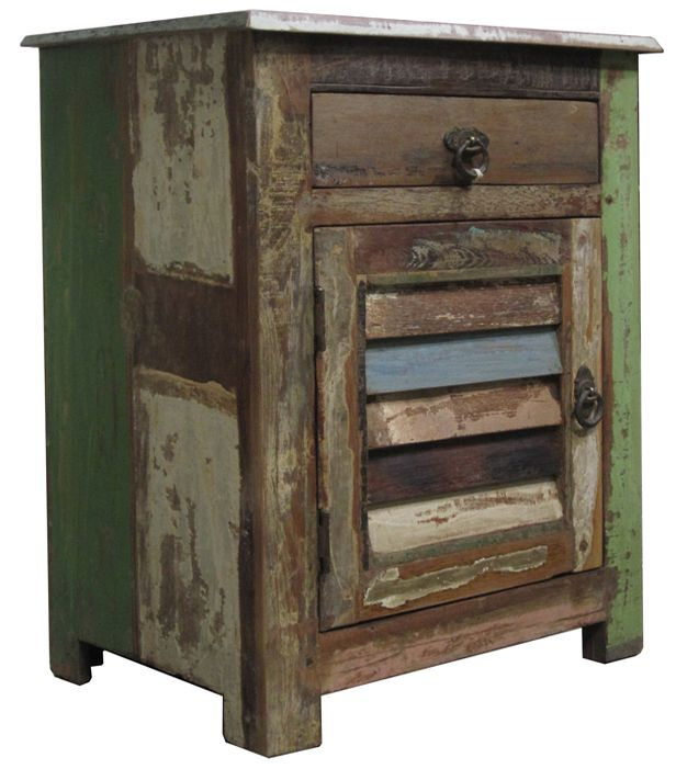 Reclaimed Wood Vintage Multi Color Shutter Nightstand