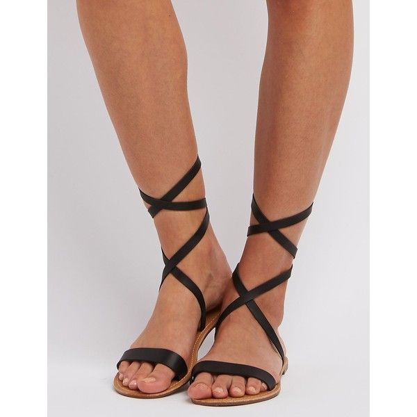 eed0bdba075 Charlotte Russe Strappy Ankle Wrap Sandals ( 13) ❤ liked on Polyvore  featuring shoes