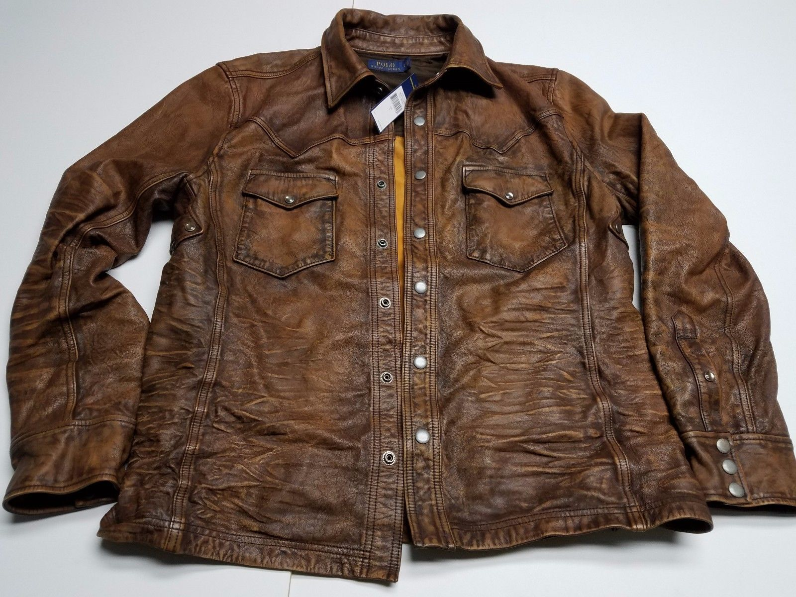 1,595 POLO Ralph Lauren Brown Defender Leather Jacket