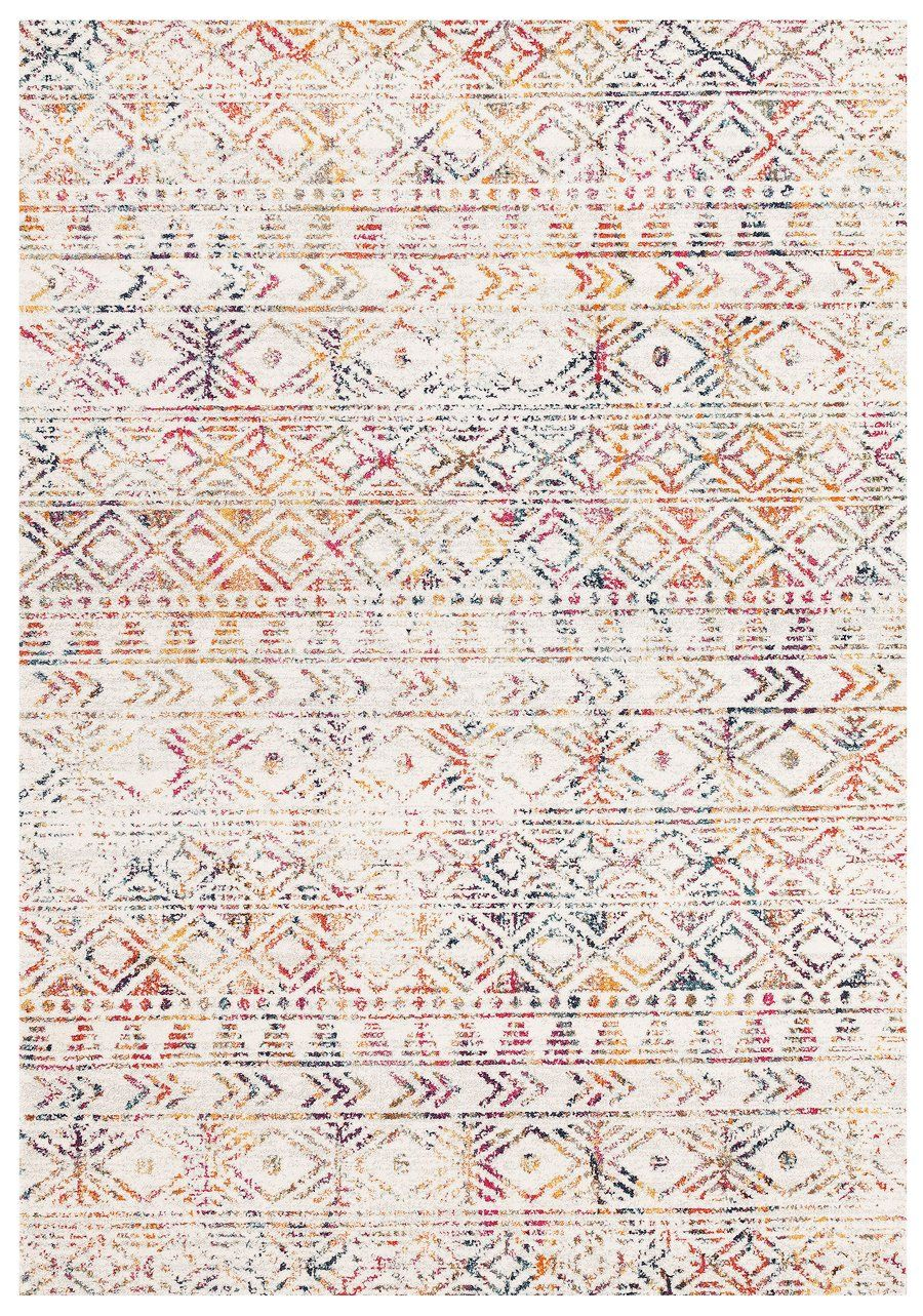 Topanga Ivory Multicolour Tribal Pattern Rug Miss Amara Au Rustic Rugs Scandi Rug Transitional Rugs