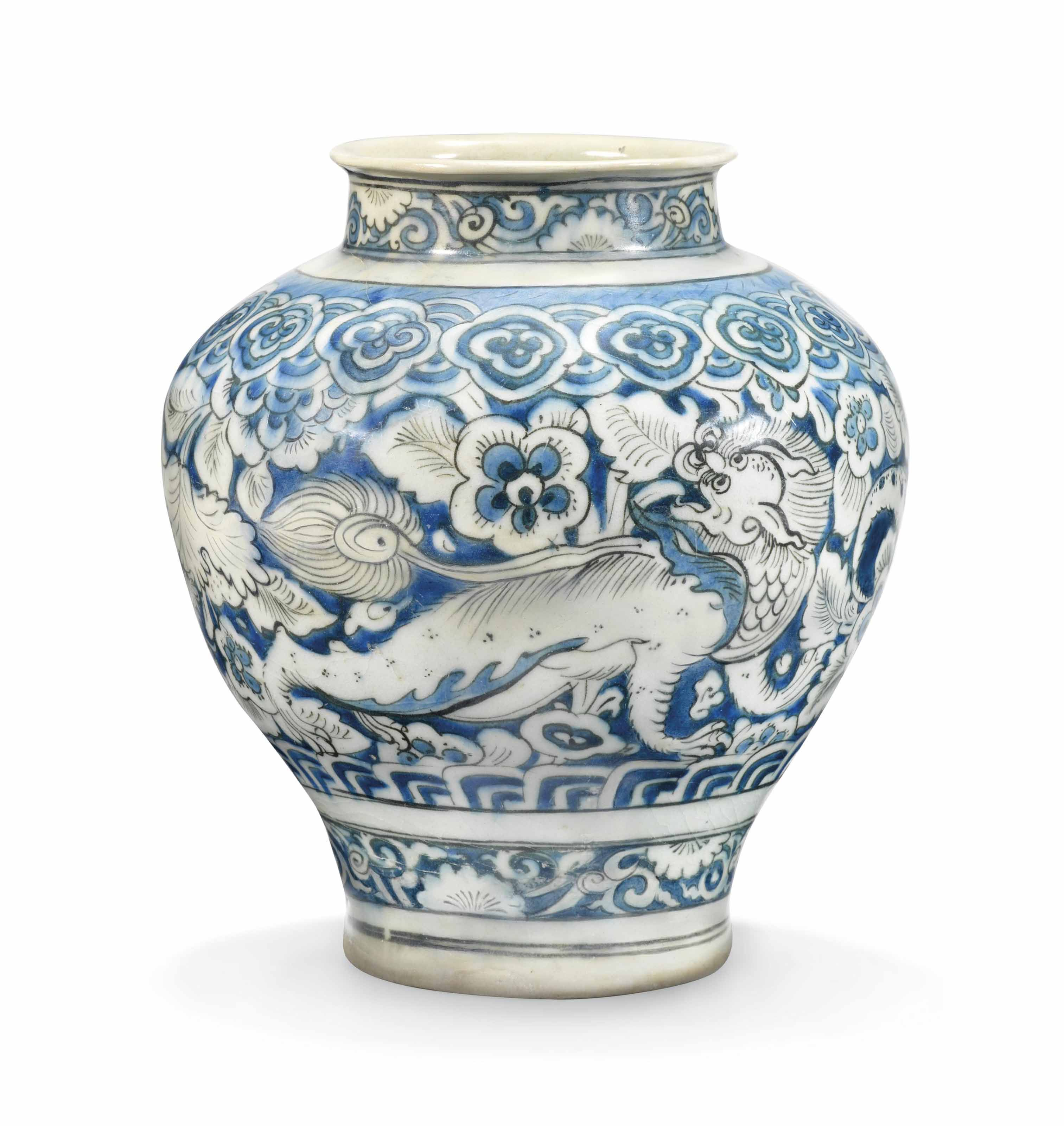 A Safavid Blue And White Pottery Jar Iran Second Quarter 17th Century Jar All Other Categories Of Objects Christie S Pottery Jar White Pottery Pottery