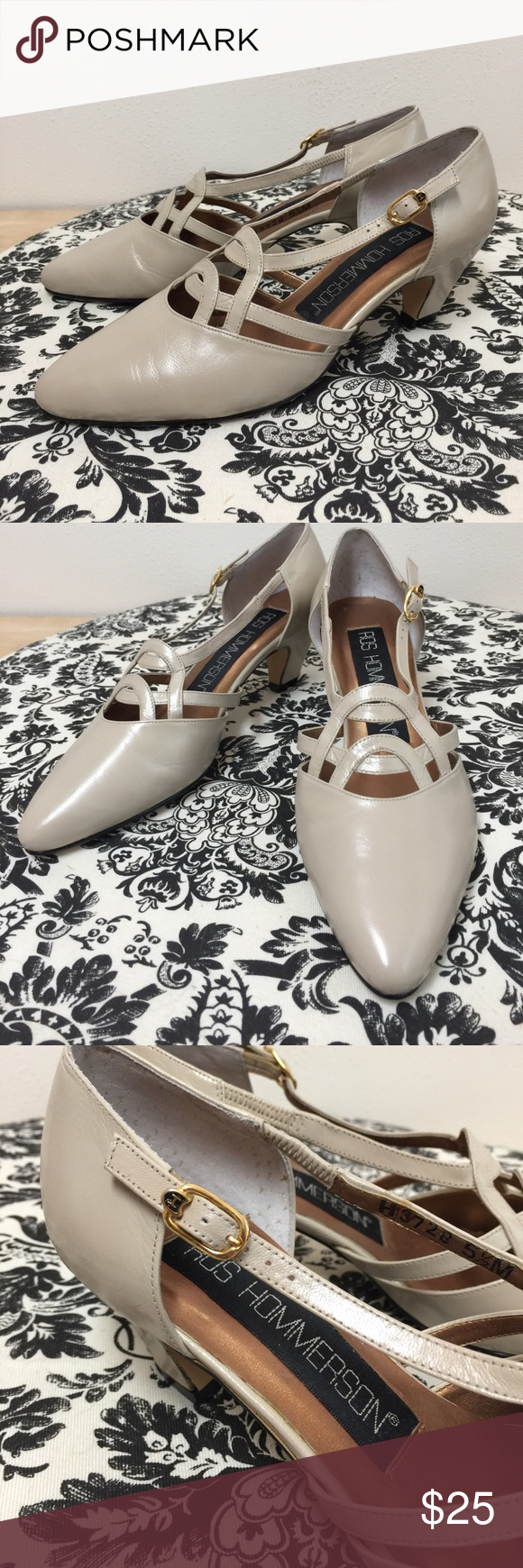 Size 5.5 Ros Hommerson Beige Leather Heels These shoes are in near perfect condition. They look to have never been worn. There is some peeling on the inside of the shoe and a nearly invisible spot on the left shoe. See last two pics. Size 5.5. Smoke free home. Ros Hommerson Shoes Heels