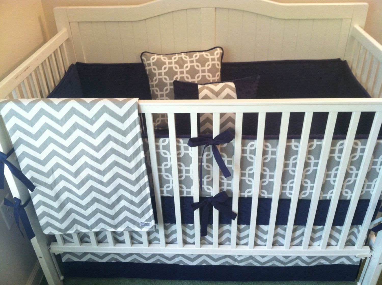 Crib bedding set gray white navy blue with by butterbeansboutique - Crib Bedding Set Gray White Navy Blue By Butterbeansboutique