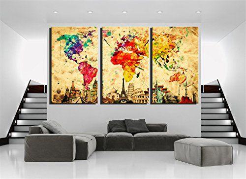 Damenight 3 Panel Wall Art painting for home decor Origin...   Old ...