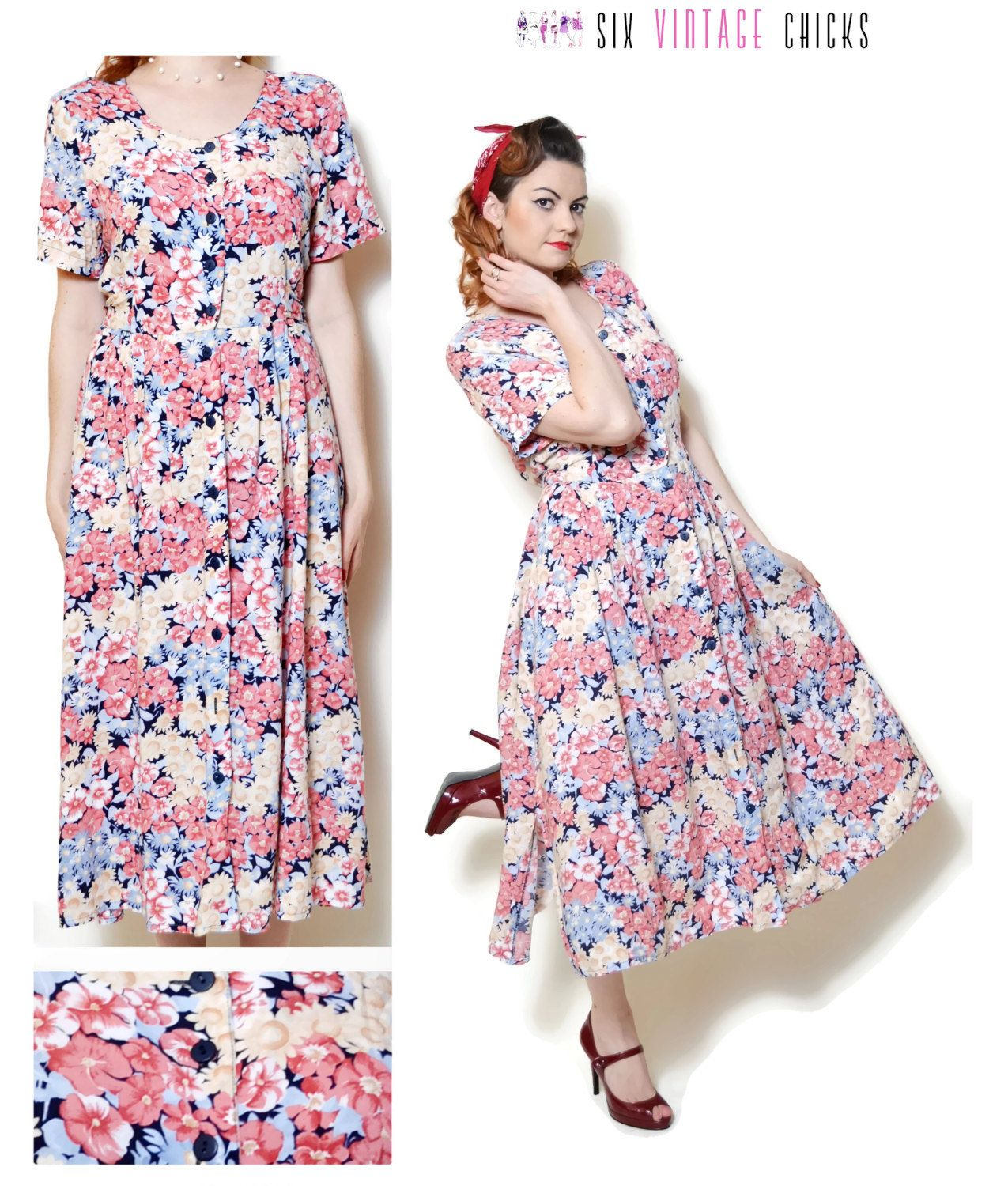 e090b6101 floral Dress women casual summer dresses hippie clothes sexy gifts vintage  clothing boho chic button down dress short sleeve 80s 90s maxi M by ...