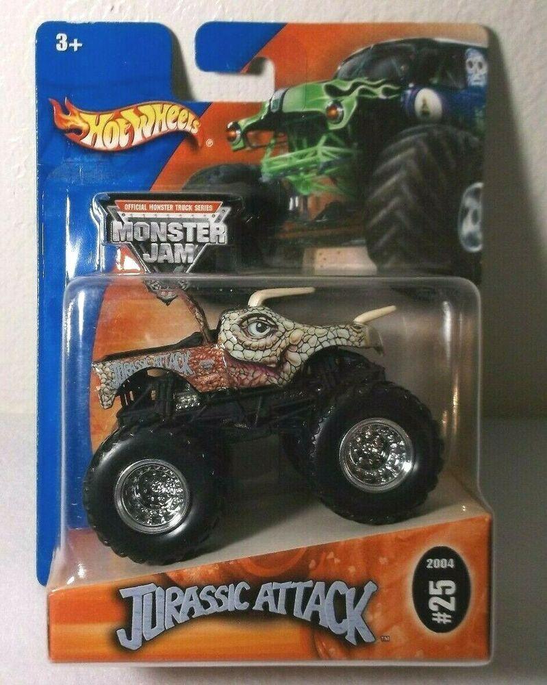 Hot Wheels Monster Jam 1 64 Scale Die Cast Jurassic Attack 2004 25 Hotwheels In 2020 Hot Wheels Monster Jam Monster Jam Monster Trucks