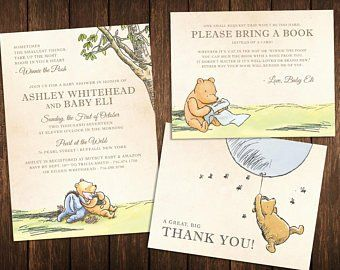 classic pooh baby shower invitation book thank you card. Black Bedroom Furniture Sets. Home Design Ideas