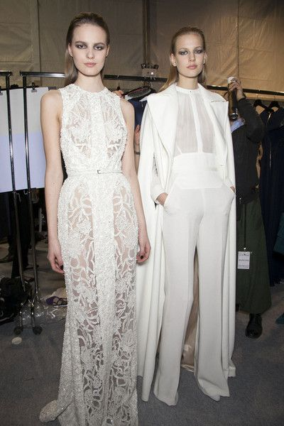 tilda lindstam and elisabeth erm backstage at elie saab fall 2013 rtw.