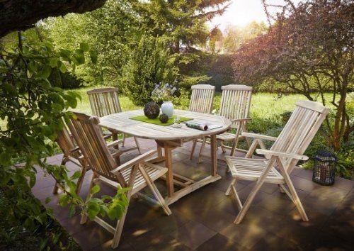 Sam Gartengruppe 7 Teilig Gartenmobel Aus Teak Holz 6 X Garten Hochlehner 1 X Auszieh Tisch Terrassen Mobel Aus Holz Massi Aussenmobel Garten Gartenmobel