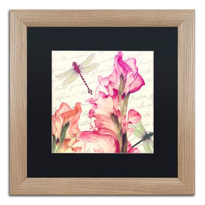 "Trademark Art 'Dragonfly Morning I' Framed Graphic Art Mat Color: Black, Size: 16"" H x 16"" W x 0.5"" D"