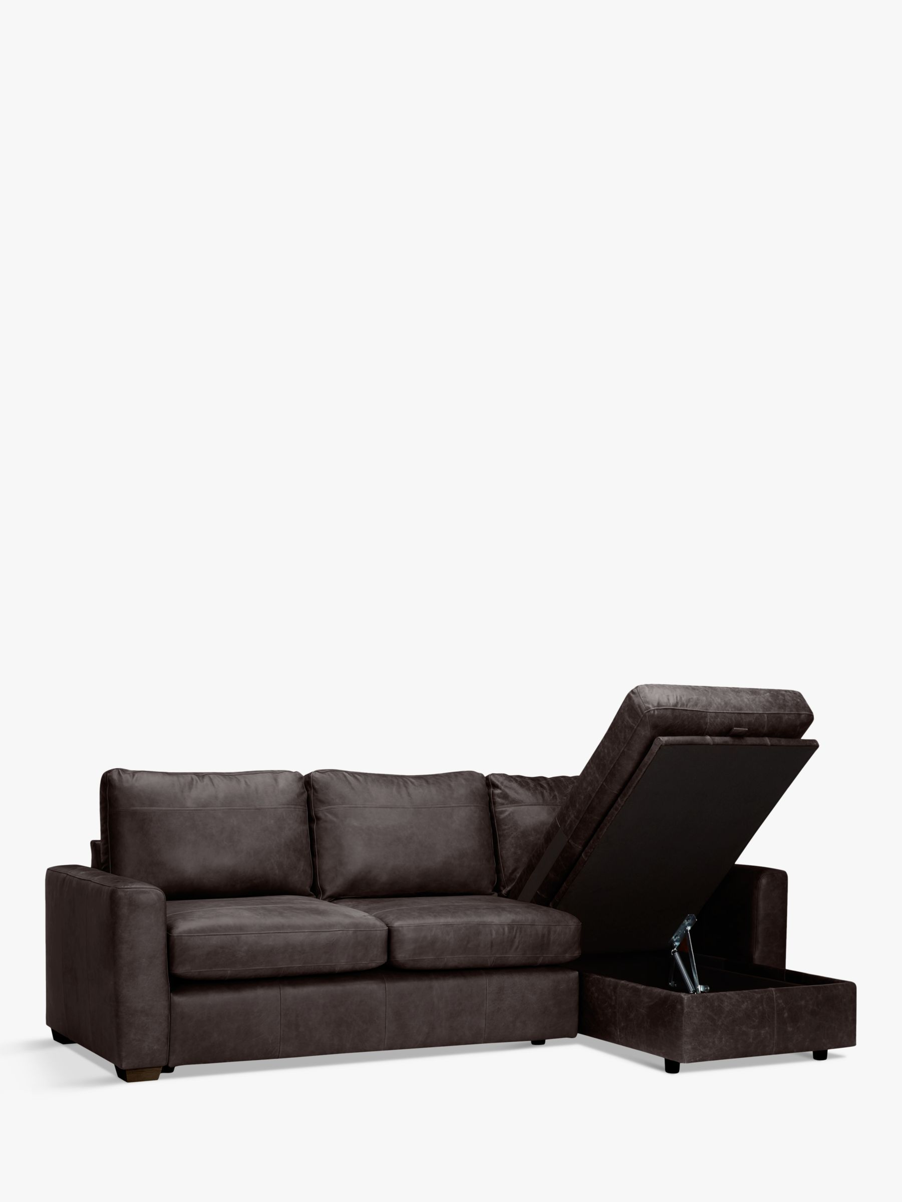 House By John Lewis Oliver Leather Storage Chaise Sofa Pack Dark Leg Chaise Sofa Large Sofa Leather Furniture