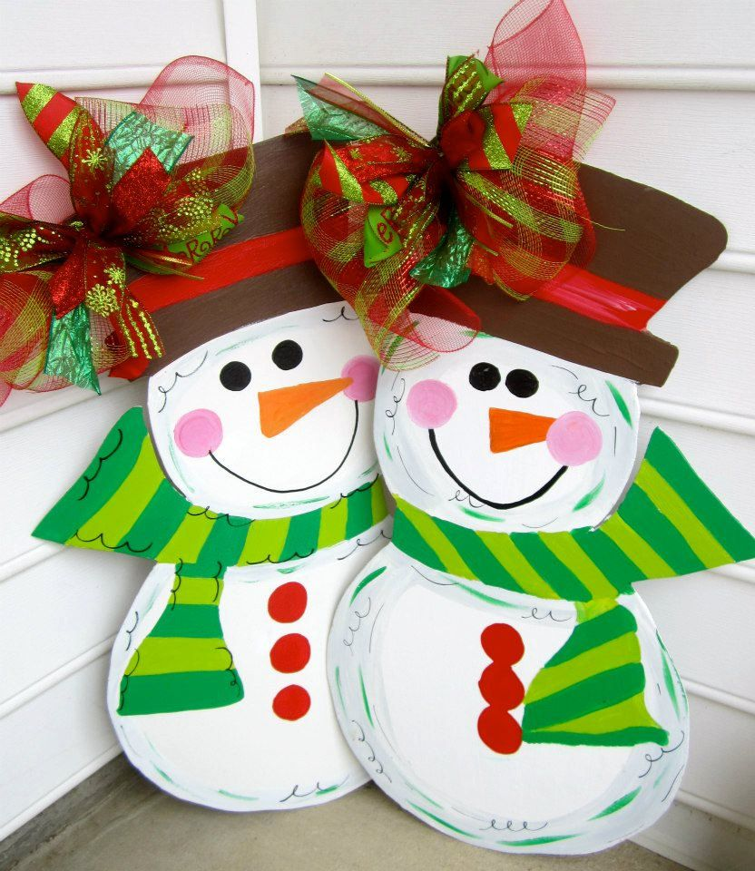 Wooden outdoor christmas decorations - Wooden Snowman For Your Front Door Wooden Door Decoration Wooden Door Hanging 50 00