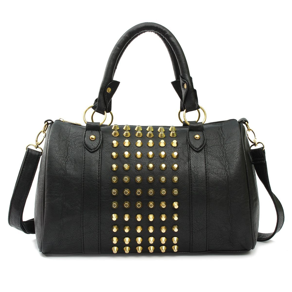 Casual Fashion Women PU Leather Dual Use Bucket Handbags Crossbody Rivet  Ladies Buckle Tote Motorcycle Large eaa4248a9cf58