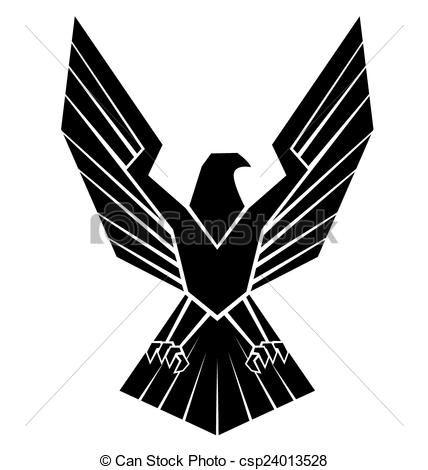 Vector Black Silhoutte Of Eagle Symbol Stock Illustration