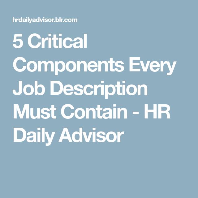 Critical Components Every Job Description Must Contain  Hr