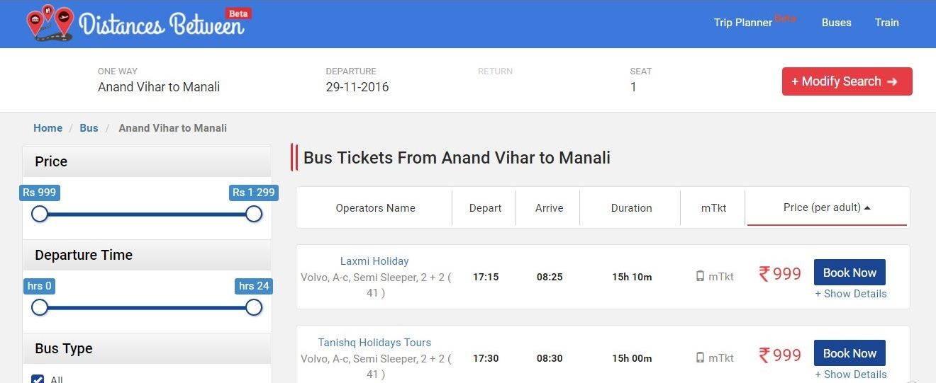 Find Anand Vihar to Manali Bus Tickets Volvo Booking Non AC Seater - bus pass template