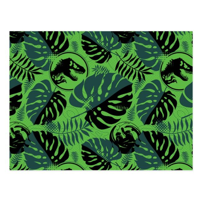 Jurassic World | Green & Black Jungle Pattern Postcard | Zazzle.com #junglepattern