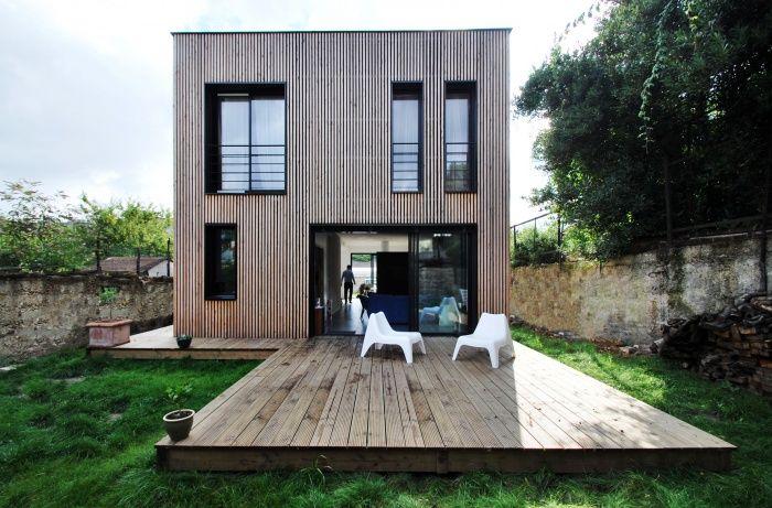 Maison bbc en ossature bois par skp architecture pinay - Extension prefabriquee ...