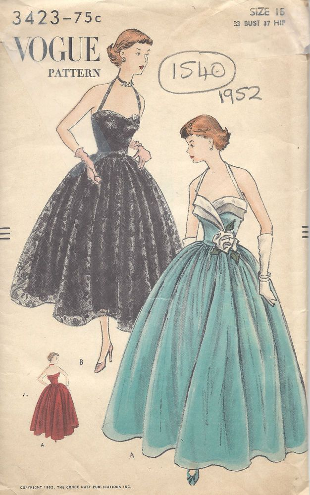 1952 Vintage VOGUE Sewing Pattern B33 DRESS (1540) | Sewing Patterns ...