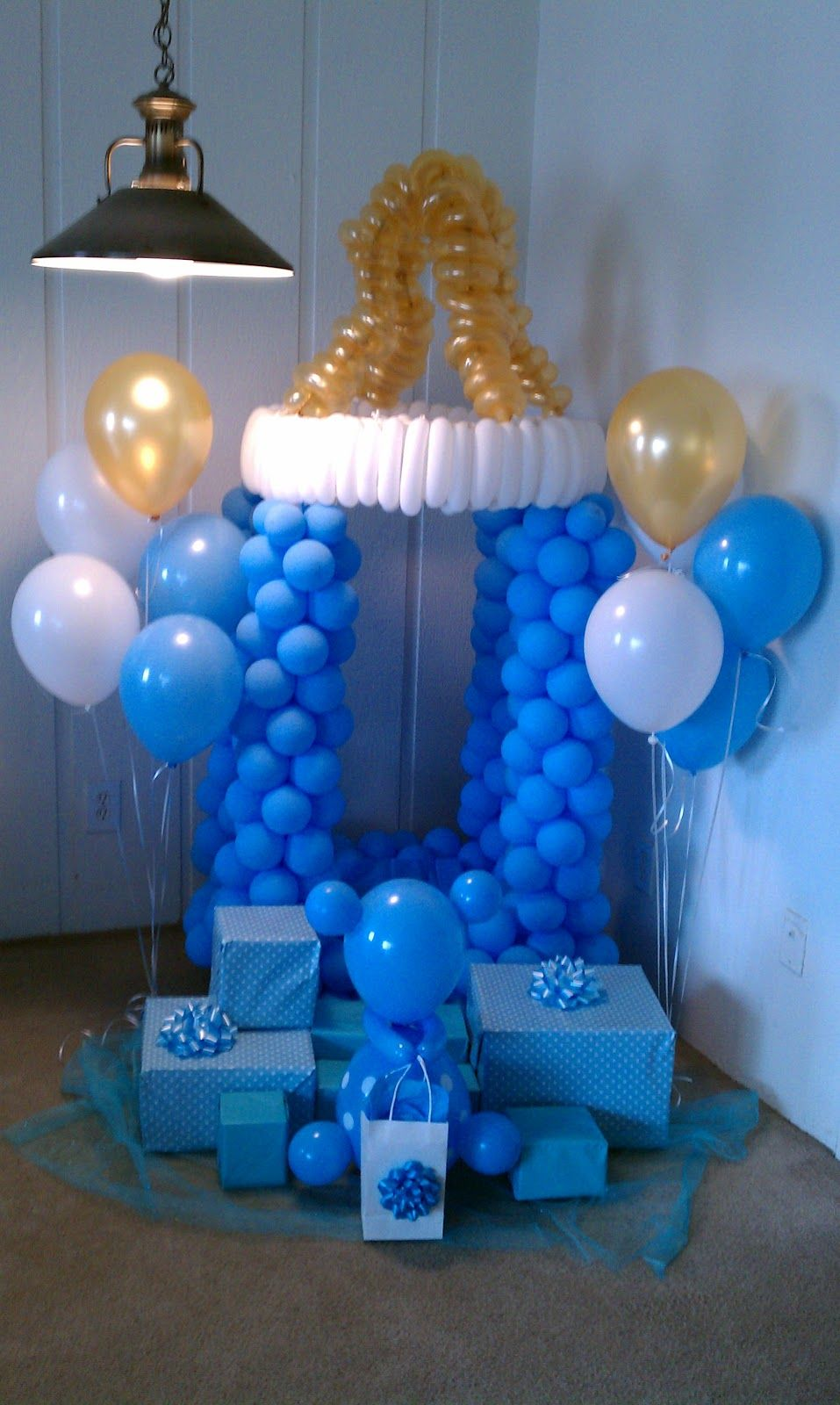 Airdesignpartydecor baby shower balloons party ideals for Baby boy baby shower decoration ideas